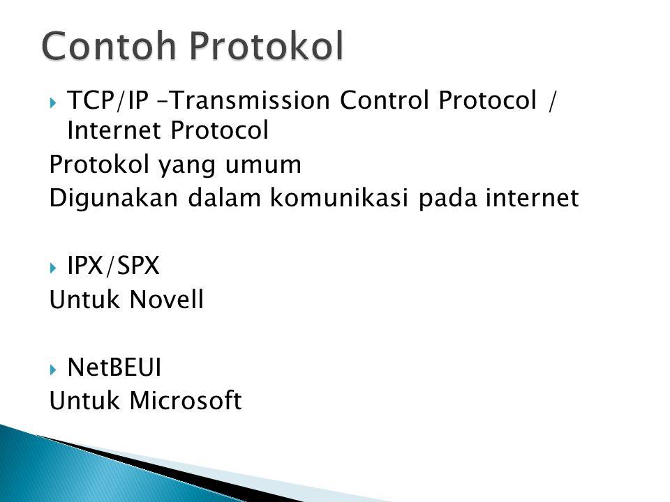  TCP/IP –Transmission Control Protocol / Internet Protocol Protokol yang umum Digunakan dalam komunikasi pada internet  IPX/SPX Untuk Novell  NetBEUI Untuk Microsoft