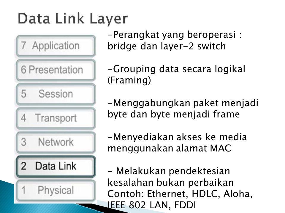 -Perangkat yang beroperasi : bridge dan layer-2 switch -Grouping data secara logikal (Framing) -Menggabungkan paket menjadi byte dan byte menjadi frame -Menyediakan akses ke media menggunakan alamat MAC - Melakukan pendektesian kesalahan bukan perbaikan Contoh: Ethernet, HDLC, Aloha, IEEE 802 LAN, FDDI
