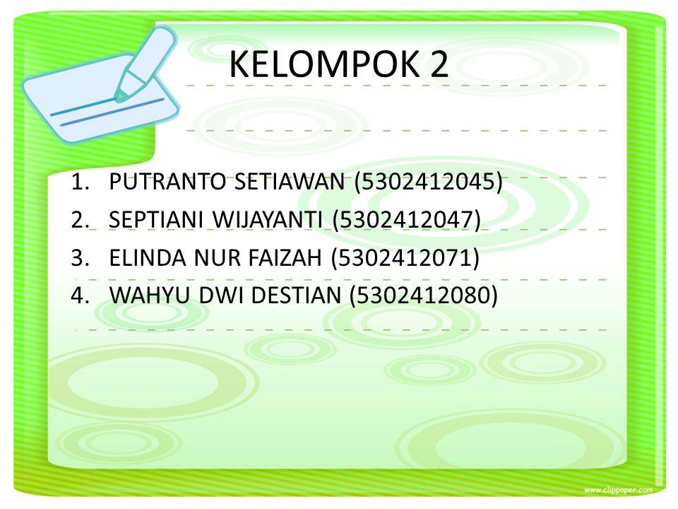 KELOMPOK 2 1.PUTRANTO SETIAWAN (5302412045) 2.SEPTIANI WIJAYANTI (5302412047) 3.ELINDA NUR FAIZAH (5302412071) 4.WAHYU DWI DESTIAN (5302412080)