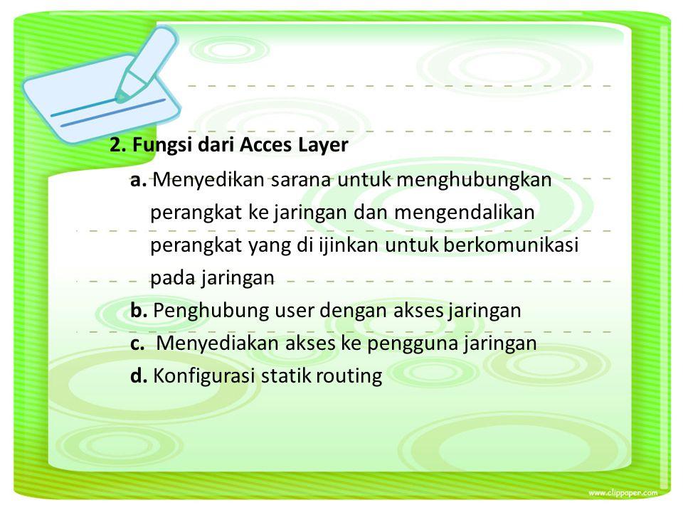 2. Fungsi dari Acces Layer a.