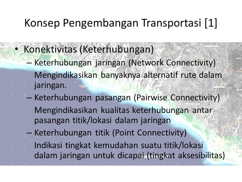 Konsep Pengembangan Transportasi [1] Konektivitas (Keterhubungan) – Keterhubungan jaringan (Network Connectivity) Mengindikasikan banyaknya alternatif