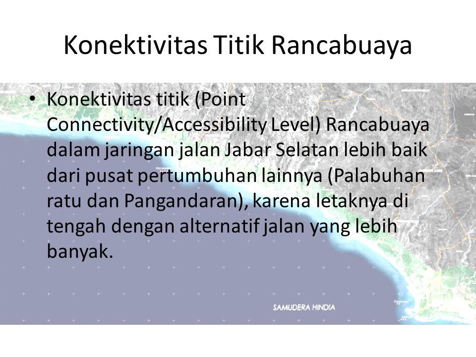 Konektivitas Titik Rancabuaya Konektivitas titik (Point Connectivity/Accessibility Level) Rancabuaya dalam jaringan jalan Jabar Selatan lebih baik dar