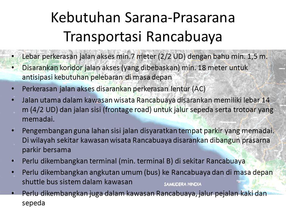 Kebutuhan Sarana-Prasarana Transportasi Rancabuaya Lebar perkerasan jalan akses min.7 meter (2/2 UD) dengan bahu min. 1,5 m. Disarankan koridor jalan