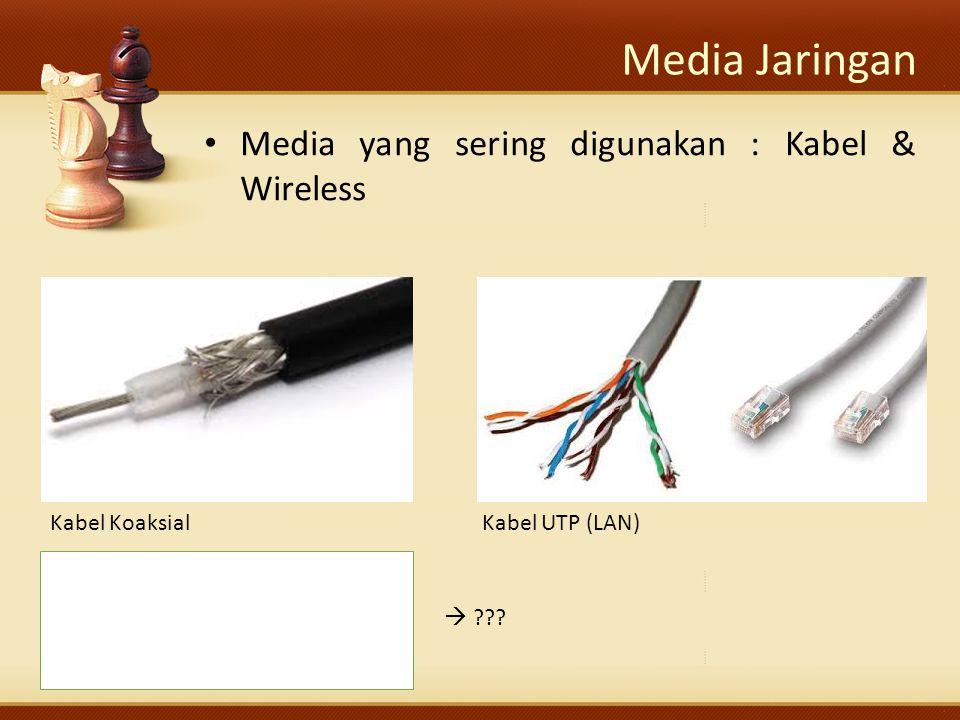 Media Jaringan Media yang sering digunakan : Kabel & Wireless  Kabel KoaksialKabel UTP (LAN)