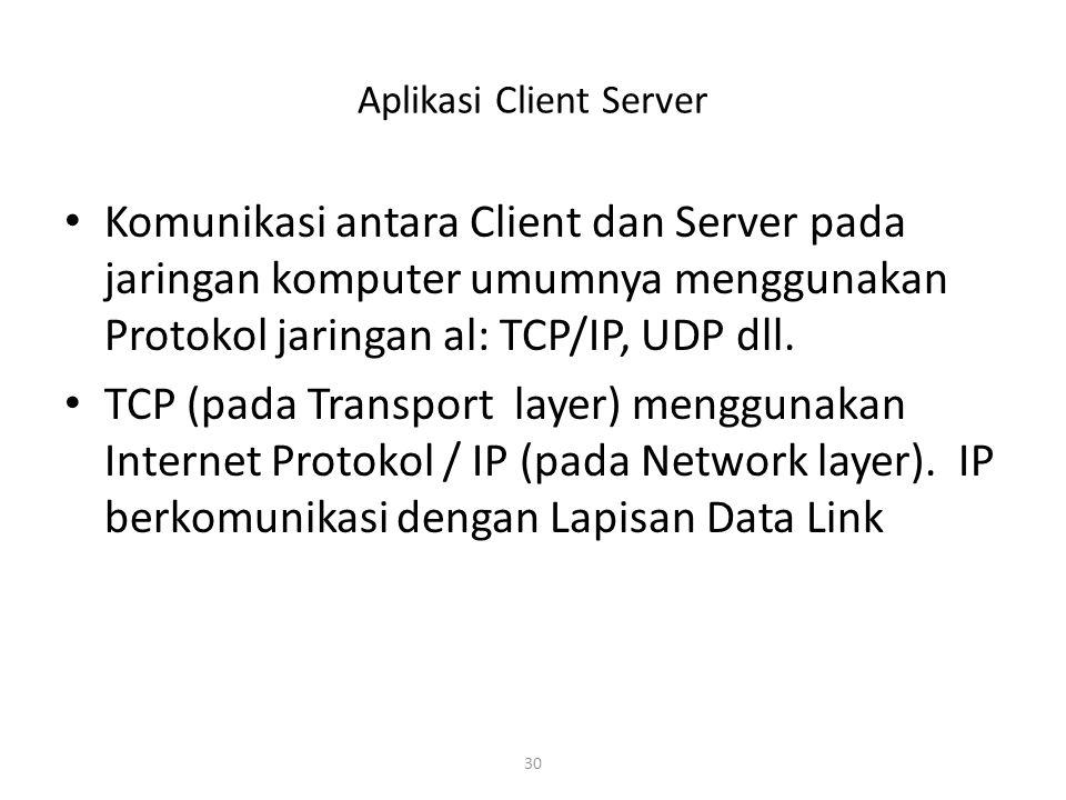 30 Aplikasi Client Server Komunikasi antara Client dan Server pada jaringan komputer umumnya menggunakan Protokol jaringan al: TCP/IP, UDP dll.