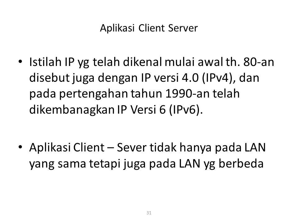 31 Aplikasi Client Server Istilah IP yg telah dikenal mulai awal th.