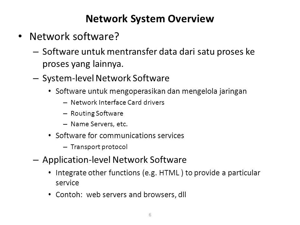 6 Network software. – Software untuk mentransfer data dari satu proses ke proses yang lainnya.