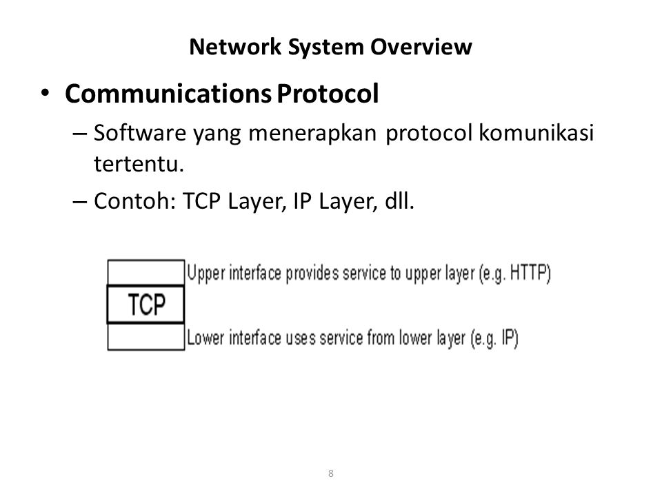 9 Network System Overview Protocol Stack – A collection of related Protocols or Protocol Layers – Example: a TCP/IP protocol stack