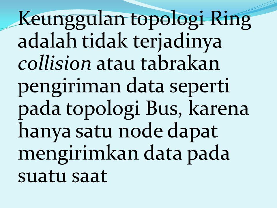Keunggulan topologi Ring adalah tidak terjadinya collision atau tabrakan pengiriman data seperti pada topologi Bus, karena hanya satu node dapat mengi
