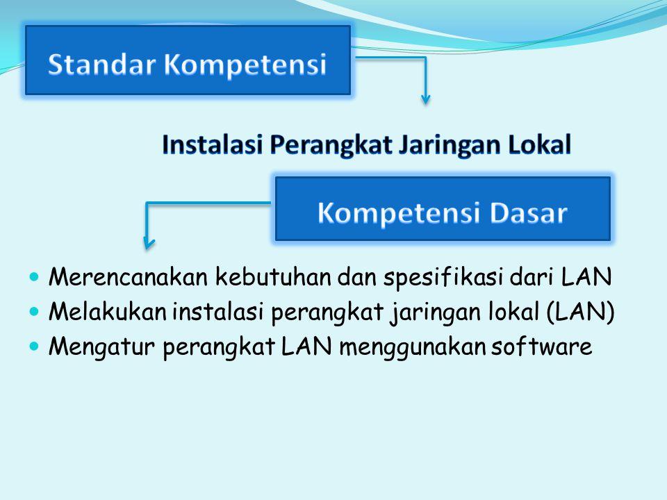 Merencanakan kebutuhan dan spesifikasi dari LAN Melakukan instalasi perangkat jaringan lokal (LAN) Mengatur perangkat LAN menggunakan software