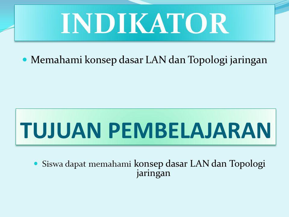 INDIKATOR Memahami konsep dasar LAN dan Topologi jaringan TUJUAN PEMBELAJARAN Siswa dapat memahami konsep dasar LAN dan Topologi jaringan