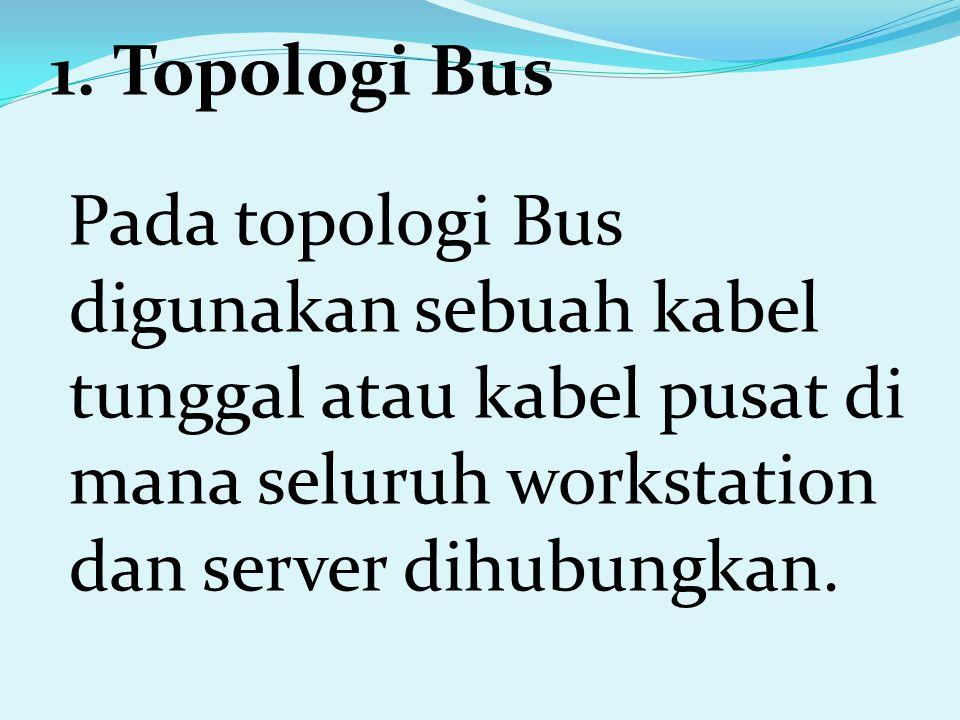 1. Topologi Bus Pada topologi Bus digunakan sebuah kabel tunggal atau kabel pusat di mana seluruh workstation dan server dihubungkan.