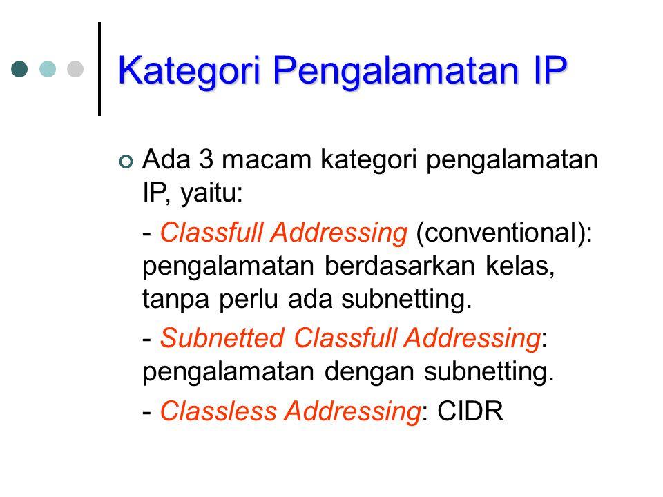 Kategori Pengalamatan IP Ada 3 macam kategori pengalamatan IP, yaitu: - Classfull Addressing (conventional): pengalamatan berdasarkan kelas, tanpa per
