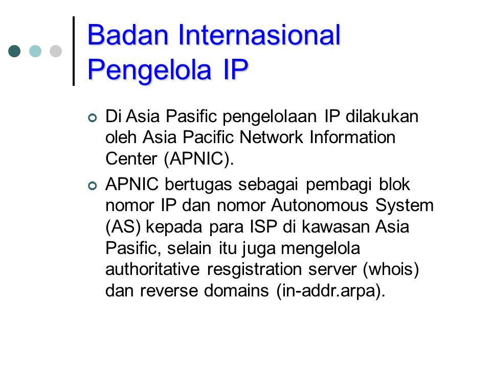 Badan Internasional Pengelola IP Di Asia Pasific pengelolaan IP dilakukan oleh Asia Pacific Network Information Center (APNIC). APNIC bertugas sebagai