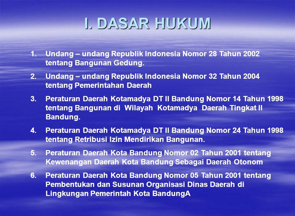 I. DASAR HUKUM 1.Undang – undang Republik Indonesia Nomor 28 Tahun 2002 tentang Bangunan Gedung. 2.Undang – undang Republik Indonesia Nomor 32 Tahun 2