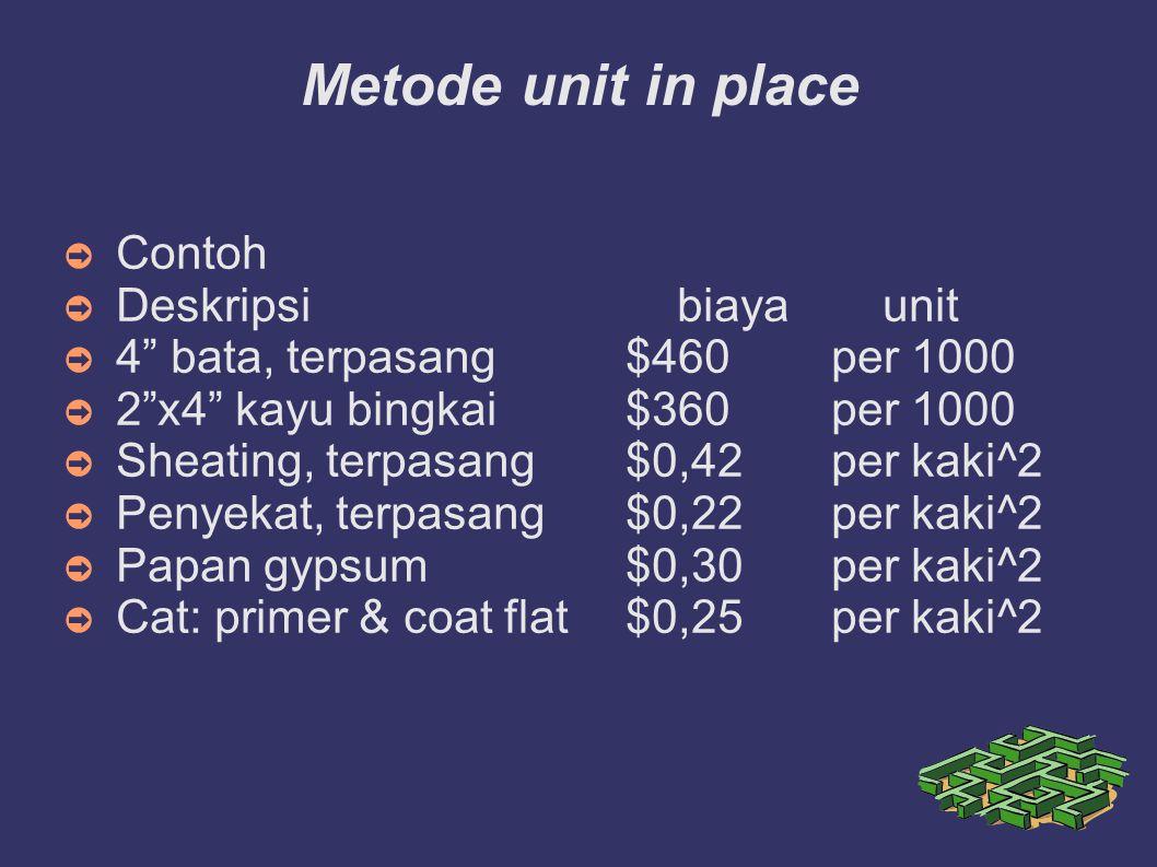 Metode unit in place ➲ Contoh ➲ Deskripsibiayaunit ➲ 4 bata, terpasang$460per 1000 ➲ 2 x4 kayu bingkai$360per 1000 ➲ Sheating, terpasang$0,42per kaki^2 ➲ Penyekat, terpasang$0,22per kaki^2 ➲ Papan gypsum$0,30per kaki^2 ➲ Cat: primer & coat flat$0,25per kaki^2