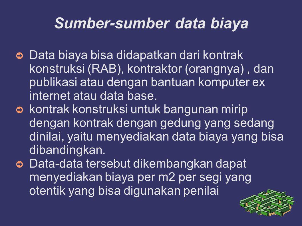 Sumber-sumber data biaya ➲ Data biaya bisa didapatkan dari kontrak konstruksi (RAB), kontraktor (orangnya), dan publikasi atau dengan bantuan komputer ex internet atau data base.