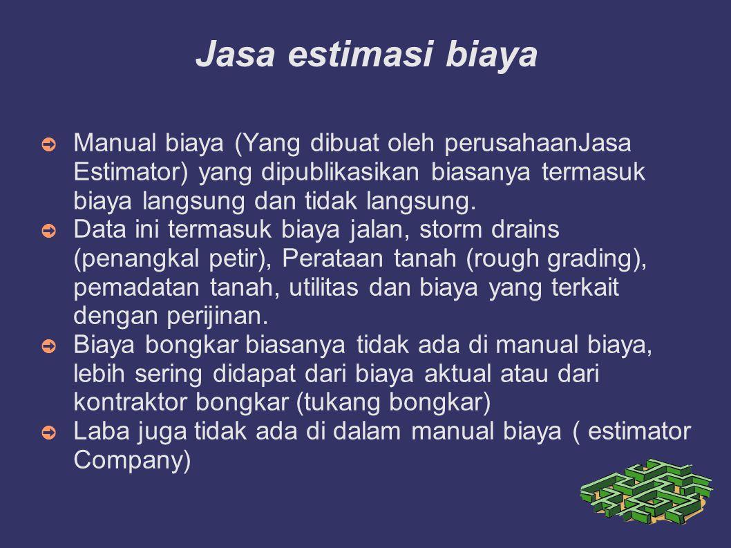 Jasa estimasi biaya ➲ Manual biaya (Yang dibuat oleh perusahaanJasa Estimator) yang dipublikasikan biasanya termasuk biaya langsung dan tidak langsung