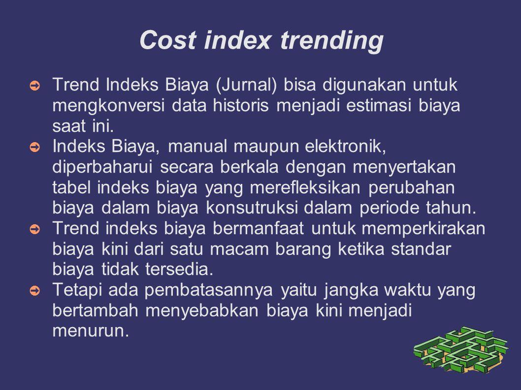 Cost index trending ➲ Trend Indeks Biaya (Jurnal) bisa digunakan untuk mengkonversi data historis menjadi estimasi biaya saat ini. ➲ Indeks Biaya, man