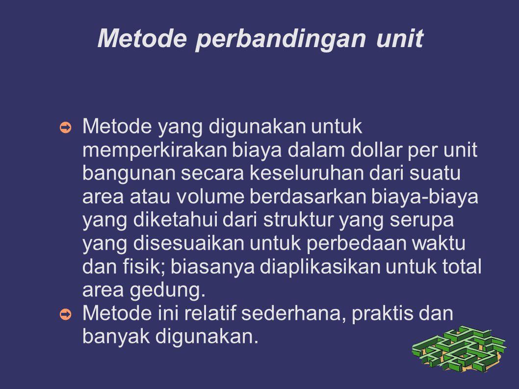 Metode perbandingan unit ➲ Metode yang digunakan untuk memperkirakan biaya dalam dollar per unit bangunan secara keseluruhan dari suatu area atau volu