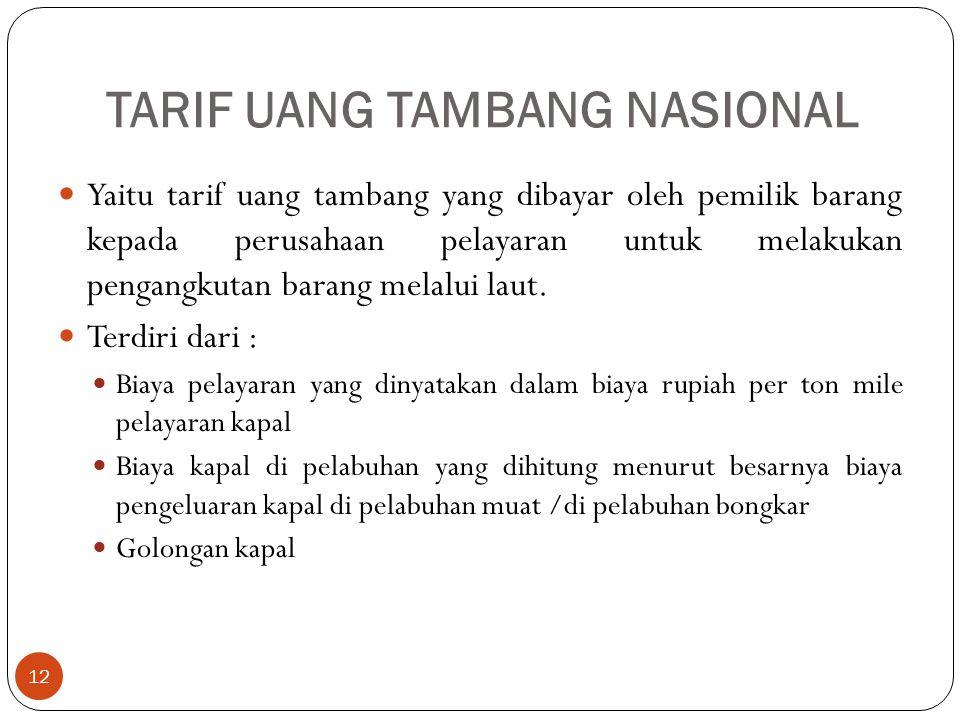 TARIF UANG TAMBANG NASIONAL 12 Yaitu tarif uang tambang yang dibayar oleh pemilik barang kepada perusahaan pelayaran untuk melakukan pengangkutan bara