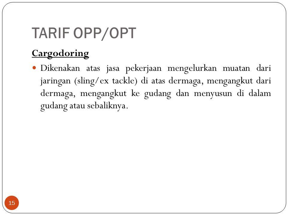 TARIF OPP/OPT 15 Cargodoring Dikenakan atas jasa pekerjaan mengelurkan muatan dari jaringan (sling/ex tackle) di atas dermaga, mengangkut dari dermaga