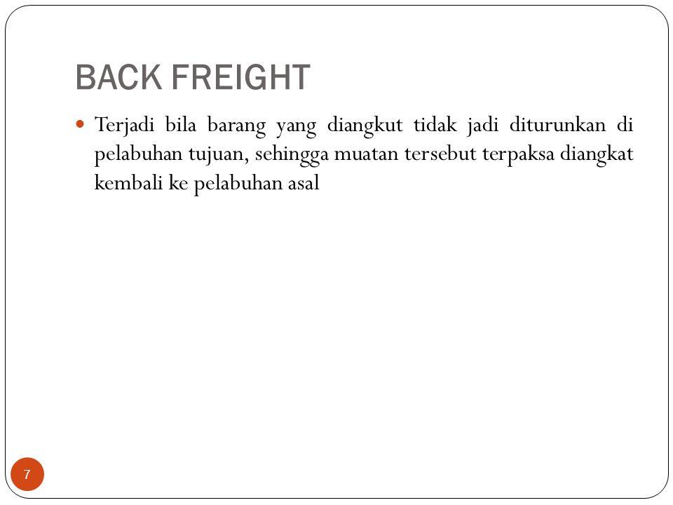 BACK FREIGHT 7 Terjadi bila barang yang diangkut tidak jadi diturunkan di pelabuhan tujuan, sehingga muatan tersebut terpaksa diangkat kembali ke pela