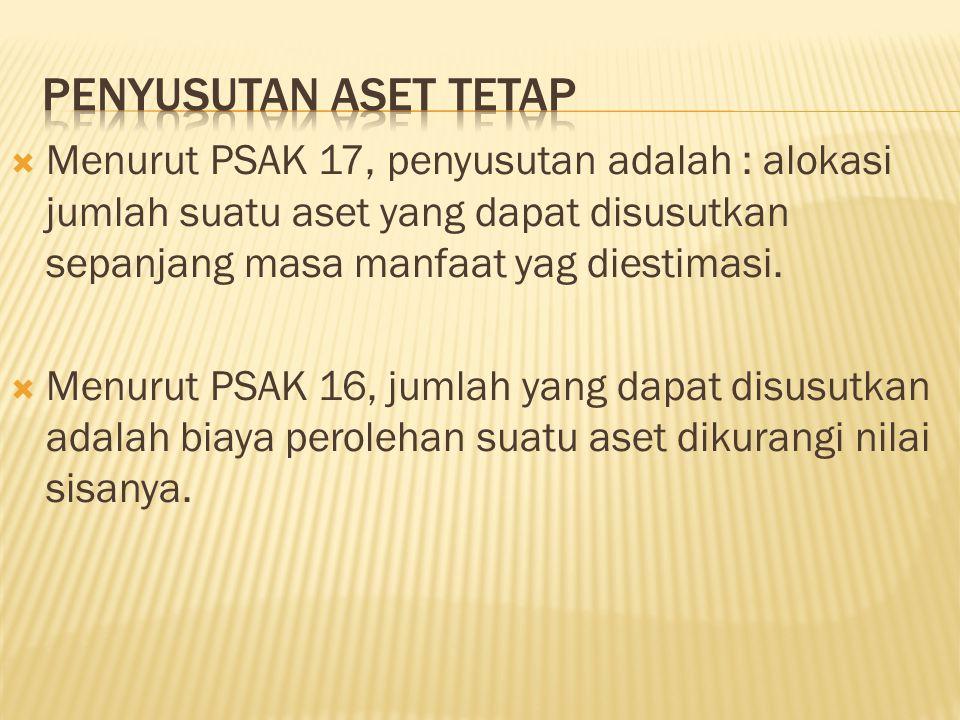  Menurut PSAK 17, penyusutan adalah : alokasi jumlah suatu aset yang dapat disusutkan sepanjang masa manfaat yag diestimasi.  Menurut PSAK 16, jumla