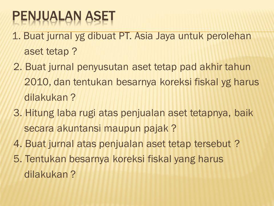 1. Buat jurnal yg dibuat PT. Asia Jaya untuk perolehan aset tetap ? 2. Buat jurnal penyusutan aset tetap pad akhir tahun 2010, dan tentukan besarnya k
