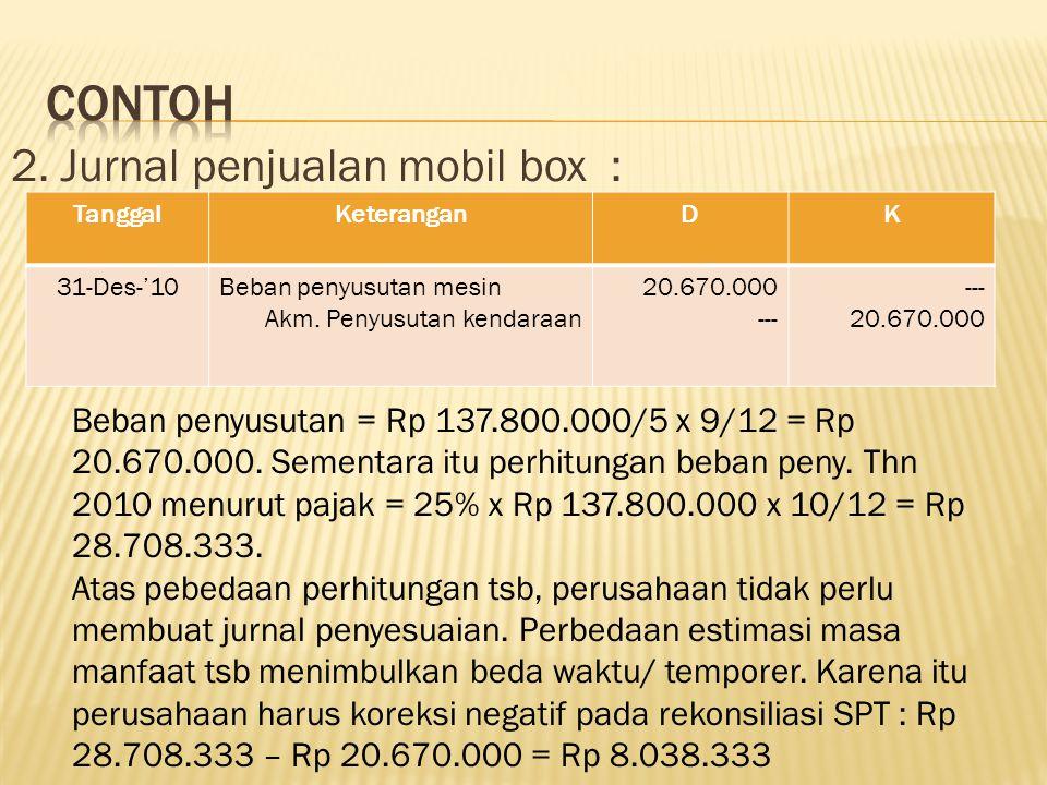 2. Jurnal penjualan mobil box : TanggalKeteranganDK 31-Des-'10Beban penyusutan mesin Akm. Penyusutan kendaraan 20.670.000 --- 20.670.000 Beban penyusu
