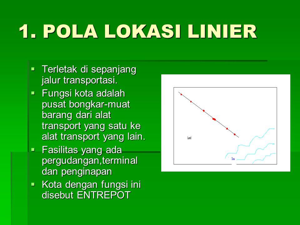 1. POLA LOKASI LINIER  Terletak di sepanjang jalur transportasi.  Fungsi kota adalah pusat bongkar-muat barang dari alat transport yang satu ke alat
