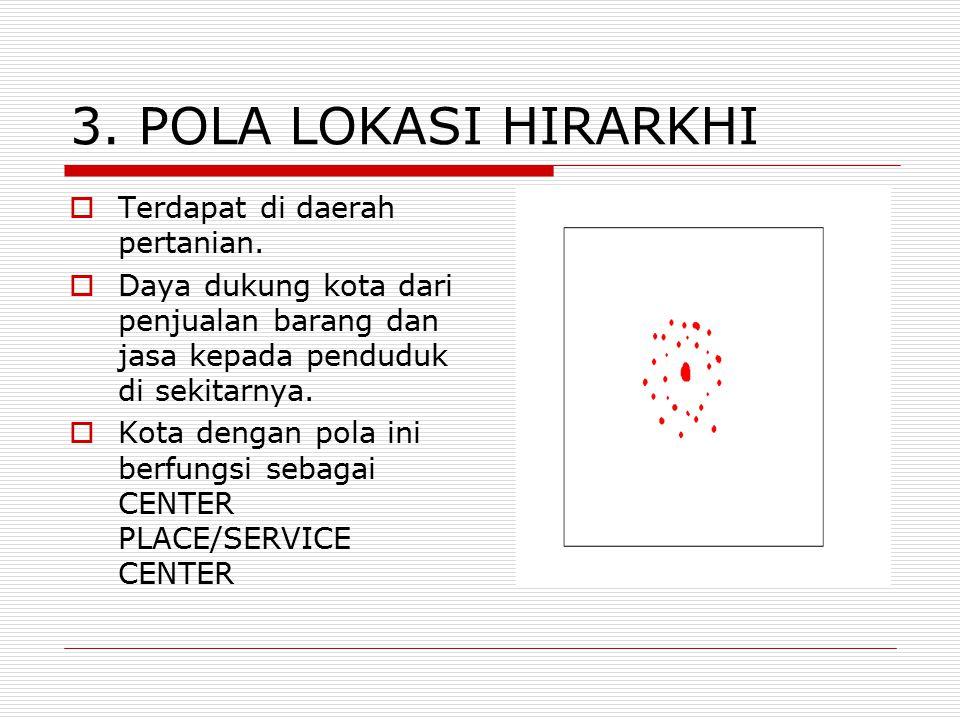 3. POLA LOKASI HIRARKHI  Terdapat di daerah pertanian.  Daya dukung kota dari penjualan barang dan jasa kepada penduduk di sekitarnya.  Kota dengan