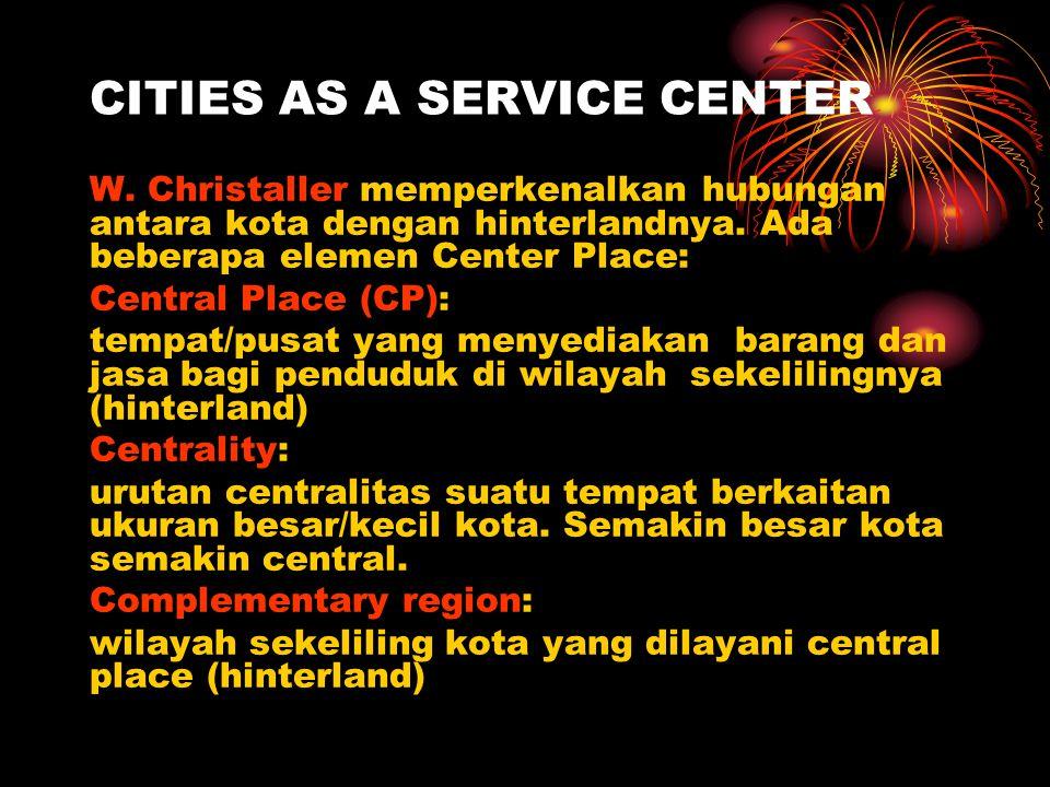 CITIES AS A SERVICE CENTER W. Christaller memperkenalkan hubungan antara kota dengan hinterlandnya. Ada beberapa elemen Center Place: Central Place (C