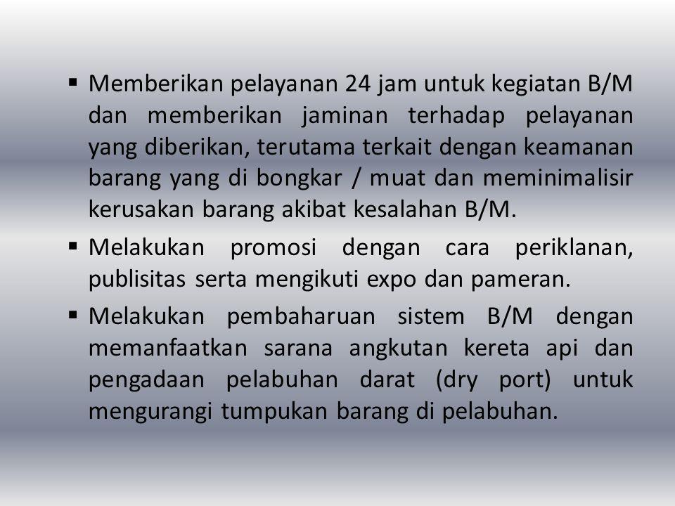  Memberikan pelayanan 24 jam untuk kegiatan B/M dan memberikan jaminan terhadap pelayanan yang diberikan, terutama terkait dengan keamanan barang yan