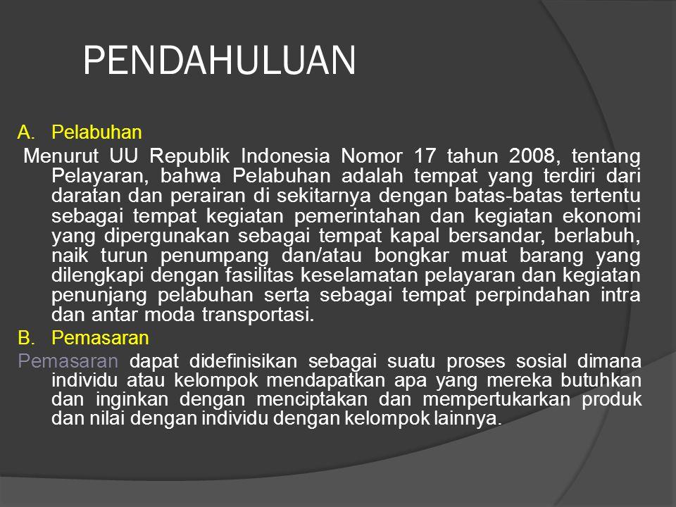 PENDAHULUAN A.Pelabuhan Menurut UU Republik Indonesia Nomor 17 tahun 2008, tentang Pelayaran, bahwa Pelabuhan adalah tempat yang terdiri dari daratan