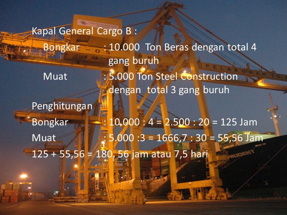 Kapal Bulk Carrier C Bongkar : Wheat flour ( Gandum Curah ) 30.000 Ton dengan ketersediaan 2 Grain elevator Penghitungan Bongkar : 30.000 : 2 = 15.000 : 100 = 150 Jam atau 6,25 hari
