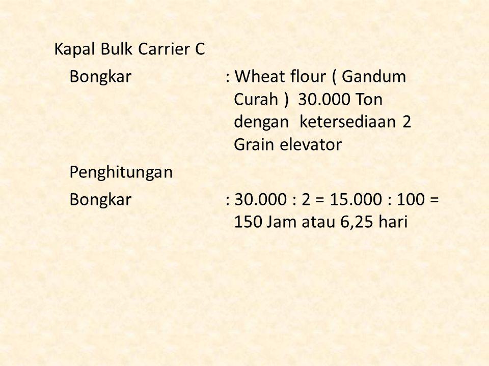 Kapal Bulk Carrier C Bongkar : Wheat flour ( Gandum Curah ) 30.000 Ton dengan ketersediaan 2 Grain elevator Penghitungan Bongkar : 30.000 : 2 = 15.000