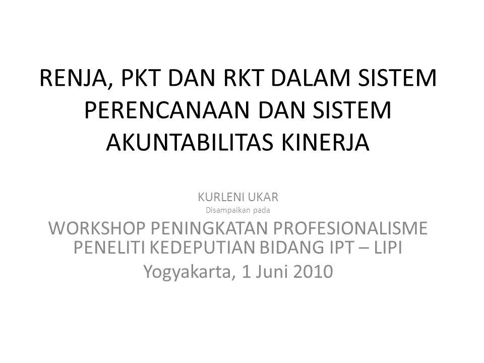 RENJA, PKT DAN RKT DALAM SISTEM PERENCANAAN DAN SISTEM AKUNTABILITAS KINERJA KURLENI UKAR Disampaikan pada WORKSHOP PENINGKATAN PROFESIONALISME PENELITI KEDEPUTIAN BIDANG IPT – LIPI Yogyakarta, 1 Juni 2010