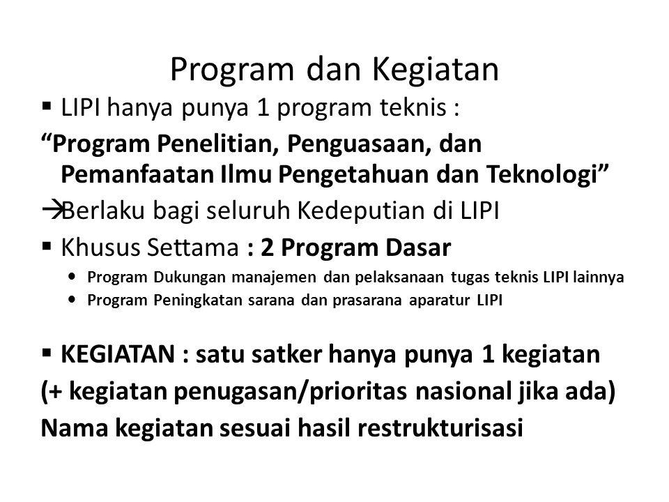 "Program dan Kegiatan  LIPI hanya punya 1 program teknis : ""Program Penelitian, Penguasaan, dan Pemanfaatan Ilmu Pengetahuan dan Teknologi""  Berlaku"