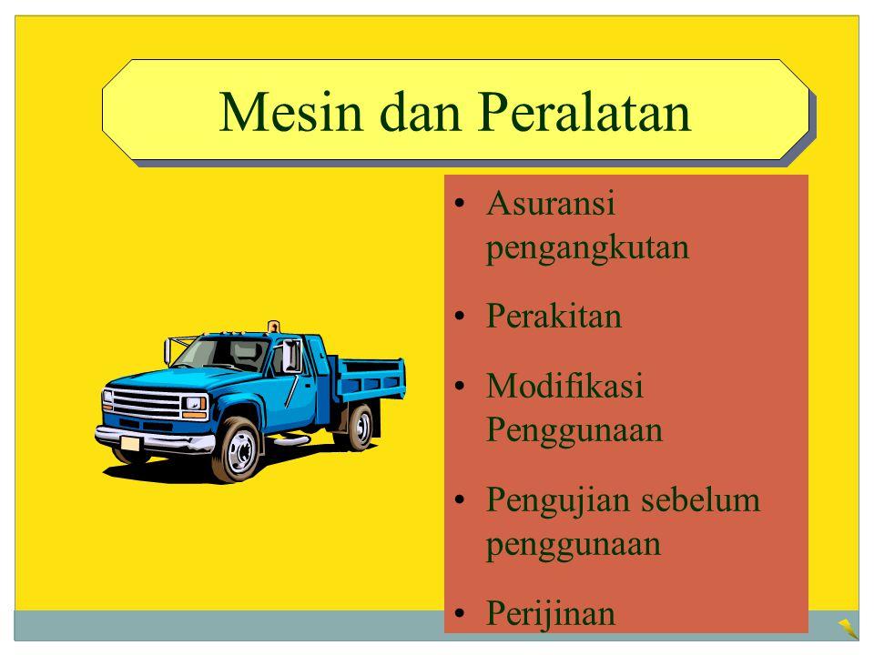 Mesin dan Peralatan Asuransi pengangkutan Perakitan Modifikasi Penggunaan Pengujian sebelum penggunaan Perijinan