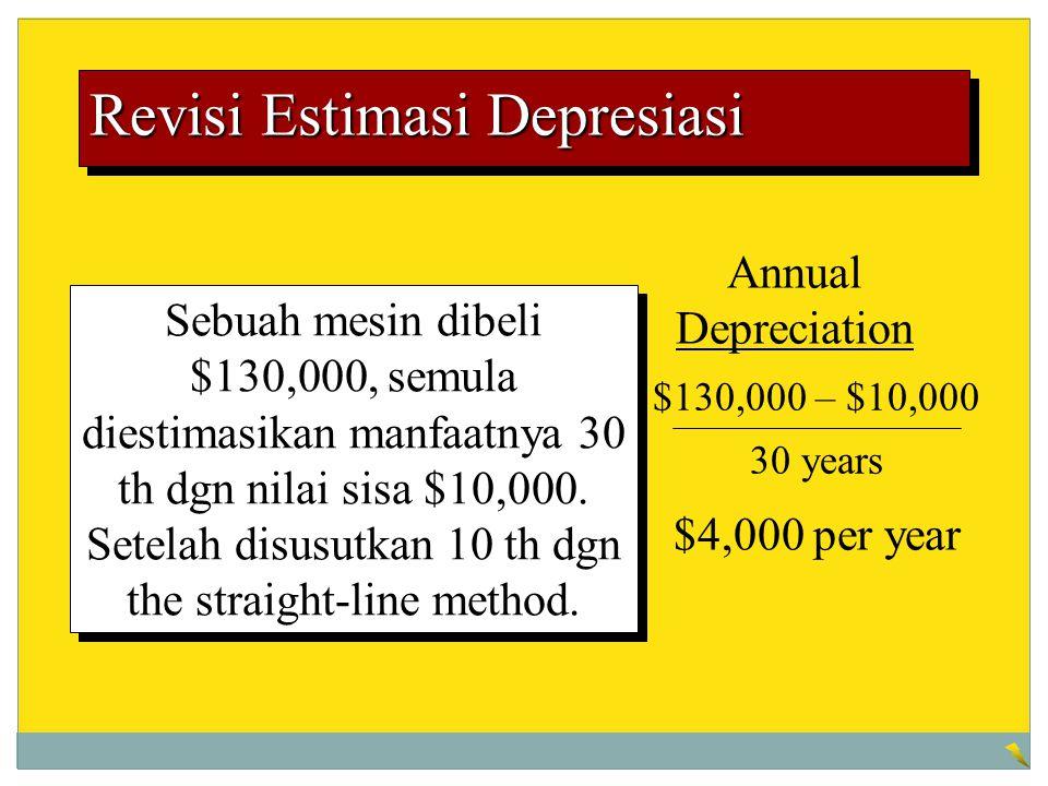Revisi Estimasi Depresiasi Sebuah mesin dibeli $130,000, semula diestimasikan manfaatnya 30 th dgn nilai sisa $10,000. Setelah disusutkan 10 th dgn th