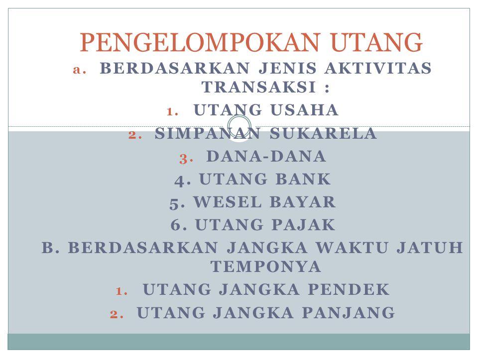 a. BERDASARKAN JENIS AKTIVITAS TRANSAKSI : 1. UTANG USAHA 2. SIMPANAN SUKARELA 3. DANA-DANA 4. UTANG BANK 5. WESEL BAYAR 6. UTANG PAJAK B. BERDASARKAN