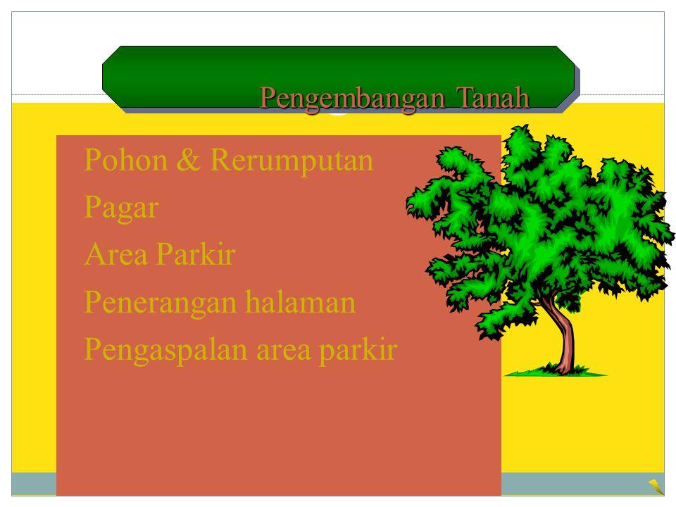 Pengembangan Tanah Pengembangan Tanah Pohon & Rerumputan Pagar Area Parkir Penerangan halaman Pengaspalan area parkir