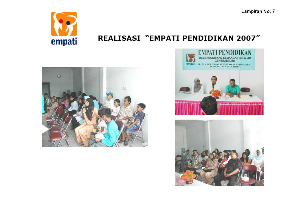 "REALISASI ""EMPATI PENDIDIKAN 2007"" Lampiran No. 7"