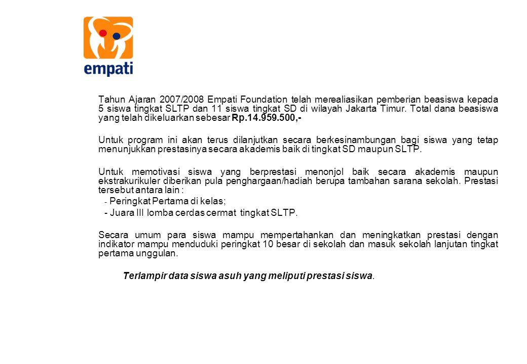 Tahun Ajaran 2007/2008 Empati Foundation telah merealiasikan pemberian beasiswa kepada 5 siswa tingkat SLTP dan 11 siswa tingkat SD di wilayah Jakarta
