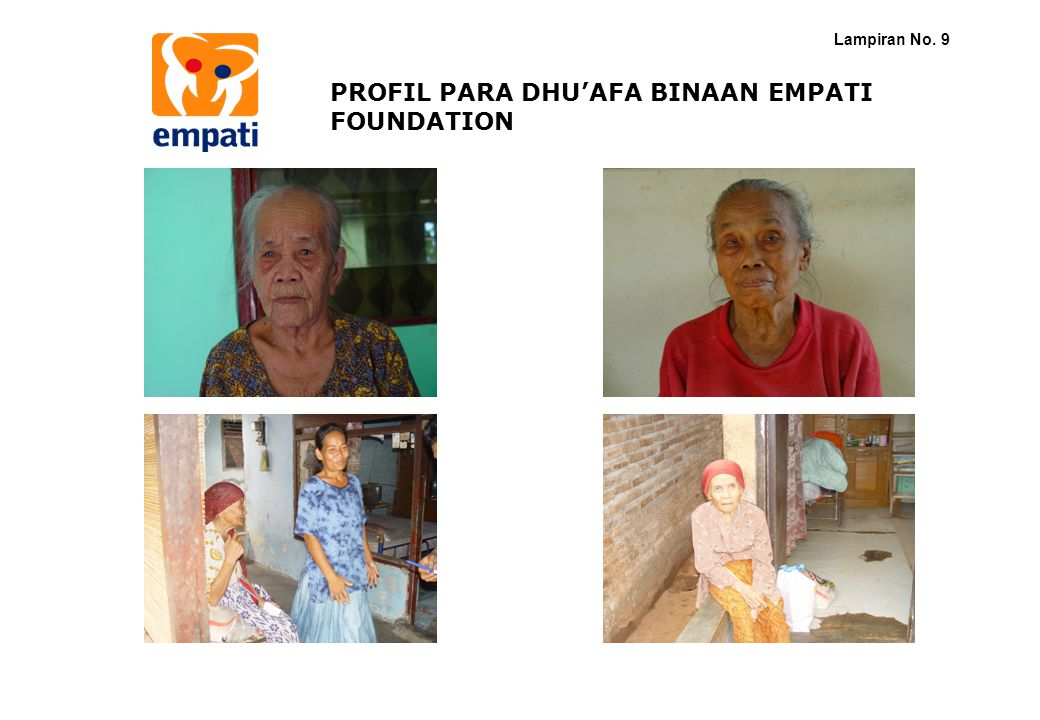 PROFIL PARA DHU'AFA BINAAN EMPATI FOUNDATION Lampiran No. 9