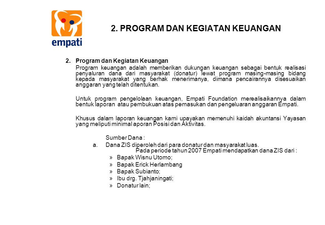 2. PROGRAM DAN KEGIATAN KEUANGAN 2.Program dan Kegiatan Keuangan Program keuangan adalah memberikan dukungan keuangan sebagai bentuk realisasi penyalu