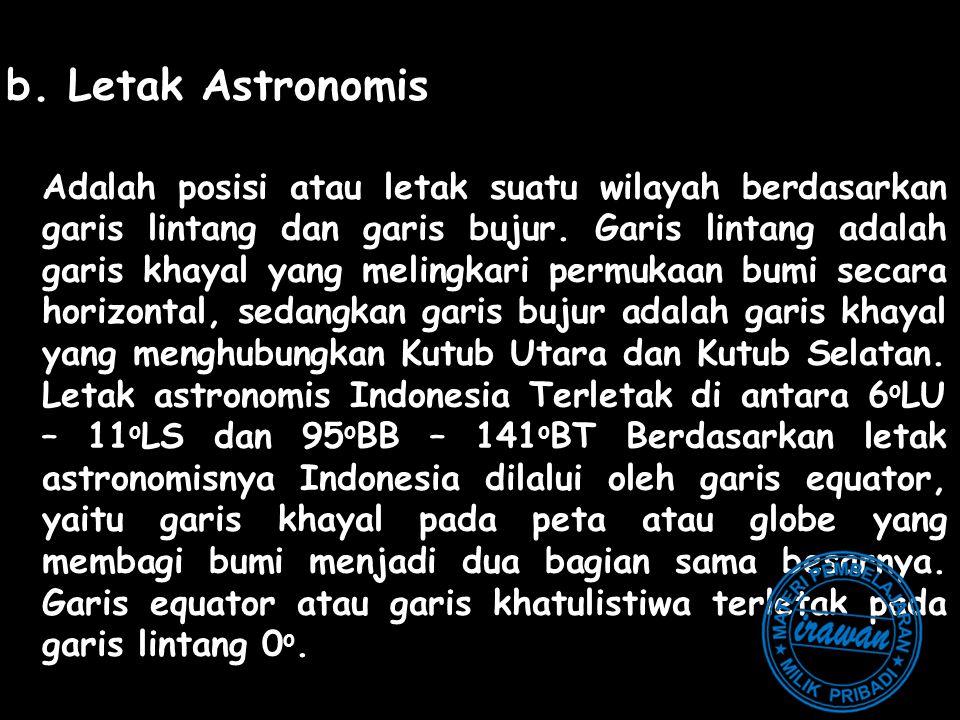 b. Letak Astronomis Adalah posisi atau letak suatu wilayah berdasarkan garis lintang dan garis bujur. Garis lintang adalah garis khayal yang melingkar