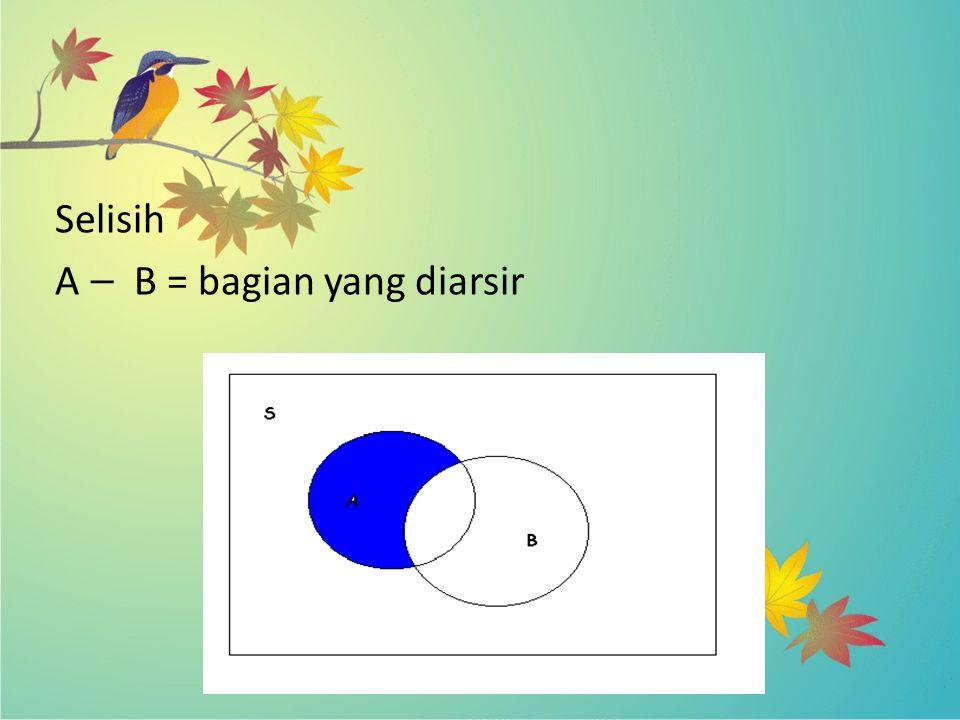 Selisih A — B = bagian yang diarsir