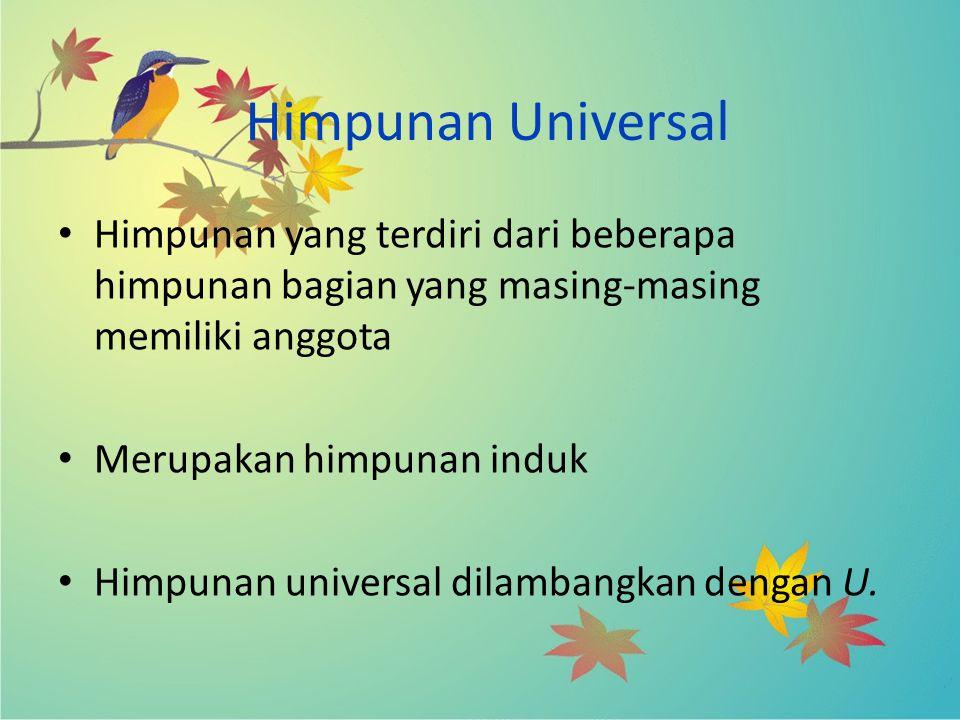 Himpunan Universal Himpunan yang terdiri dari beberapa himpunan bagian yang masing-masing memiliki anggota Merupakan himpunan induk Himpunan universal